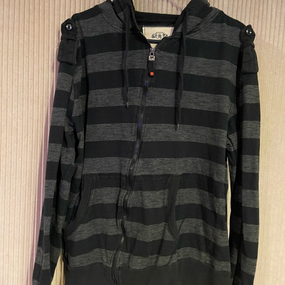 Tops - Black and gray zip up hoodie